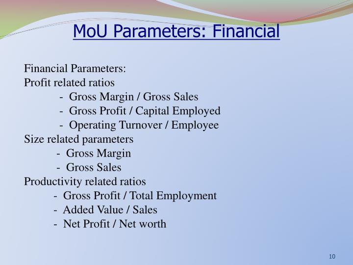 MoU Parameters: Financial