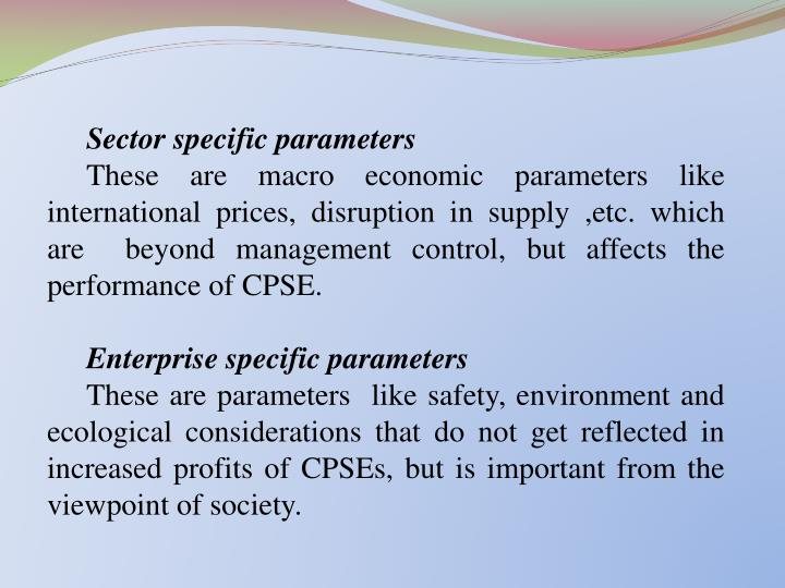 Sector specific parameters