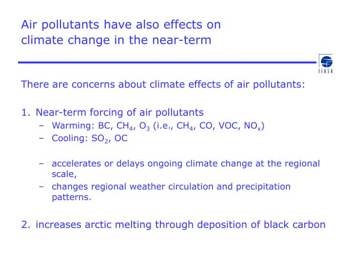 Air pollutants have also effects on climate change in the near term