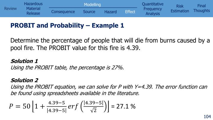 PROBIT and Probability – Example 1
