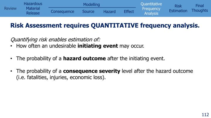 Risk Assessment requires QUANTITATIVE frequency analysis.