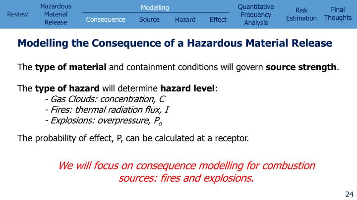 Modelling the Consequence of a Hazardous Material Release