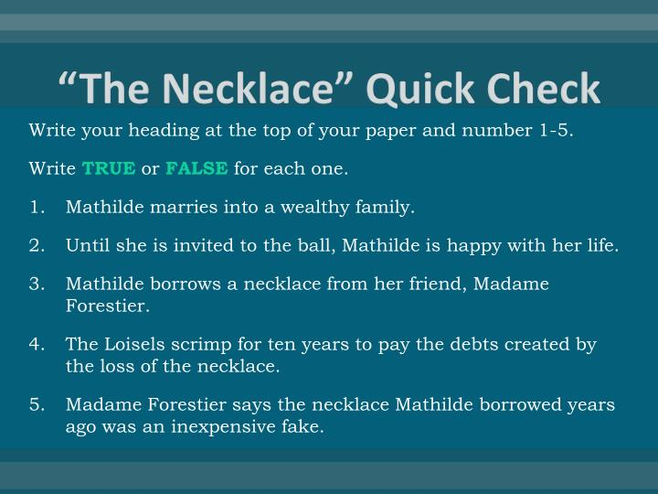 The necklace quick check
