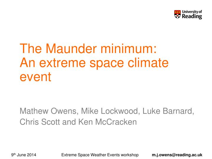 the maunder minimum an extreme space climate event n.