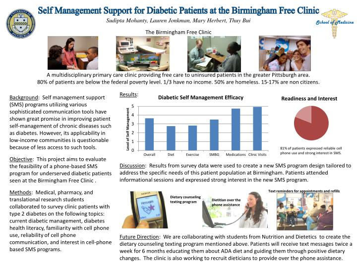 self management support for diabetic patients at the birmingham free clinic n.