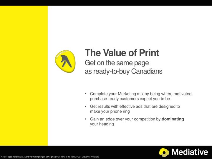 The value of print get on the same page as ready to buy canadians