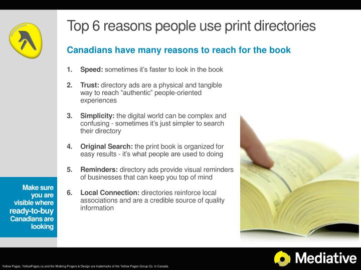 Top 6 reasons people use print directories
