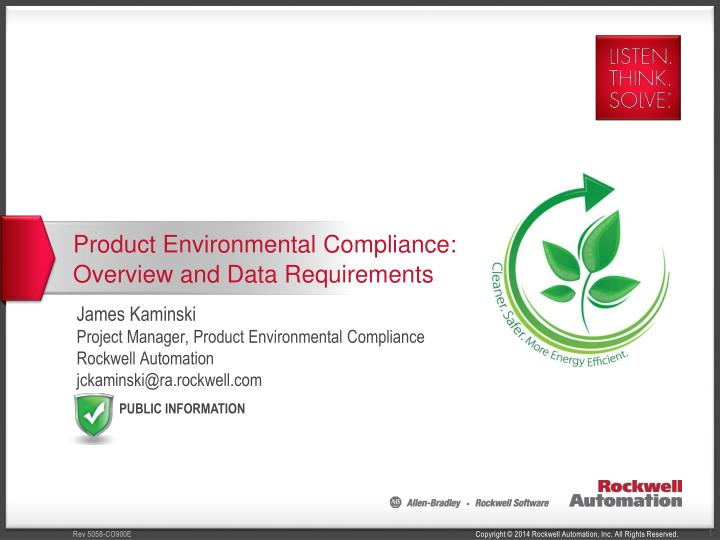 product environmental compliance overview and data requirements n.