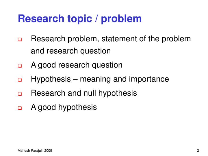 importance of research topic