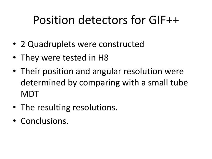 position detectors for gif n.