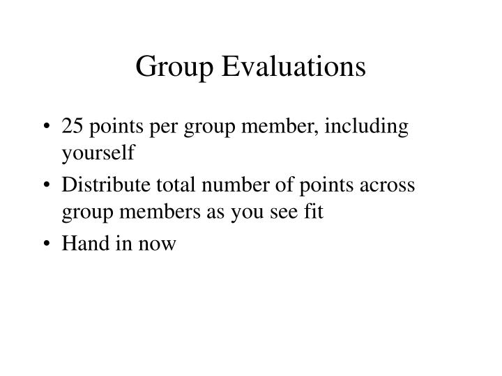 Group evaluations