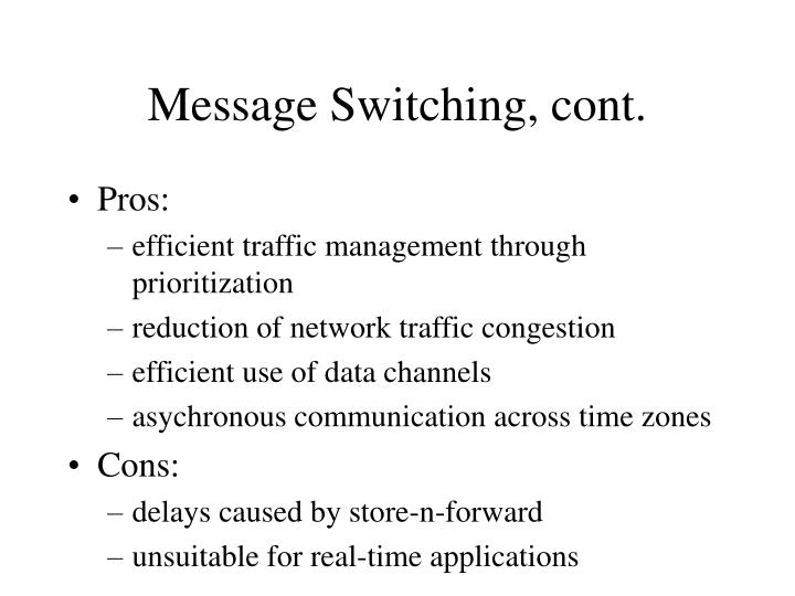 Message Switching, cont.