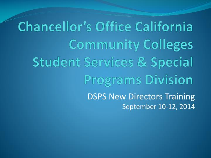 chancellor s office california community colleges student services special programs division n.