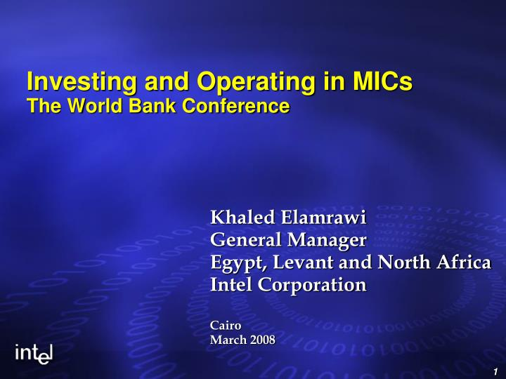 investing and operating in mics the world bank conference n.