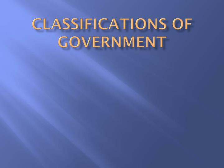 classifications of government n.