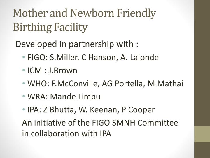 mother and newborn friendly birthing facility n.