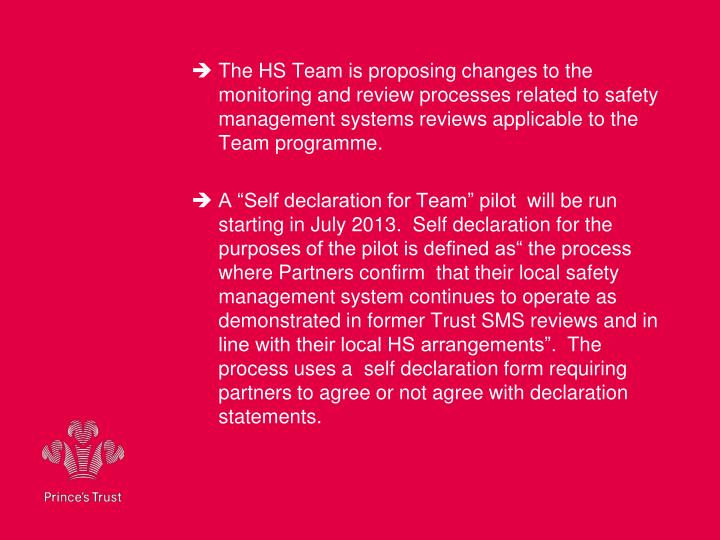 The HS Team is proposing changes to the monitoring and review processes related to safety management systems reviews applicable to the Team programme.