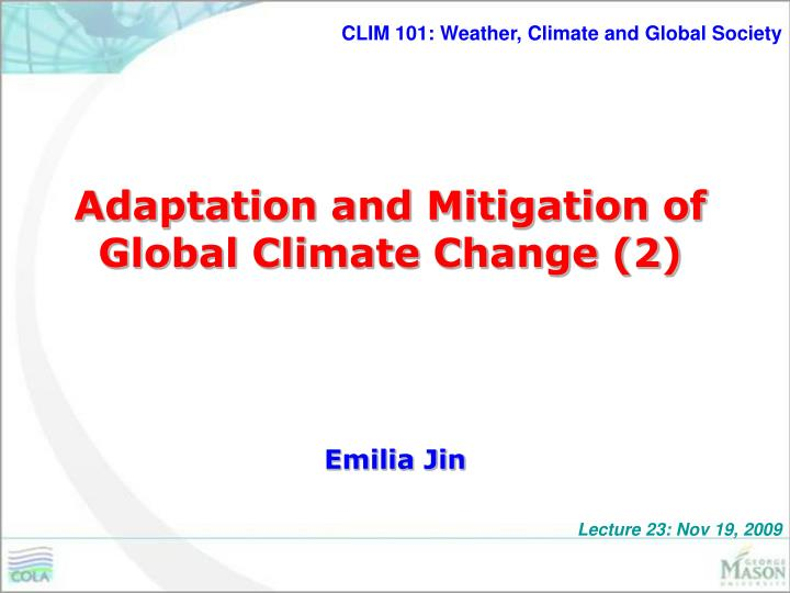 adaptation and mitigation of global climate change 2 n.