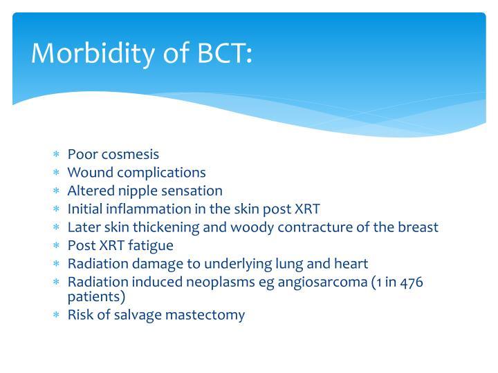 Morbidity of BCT: