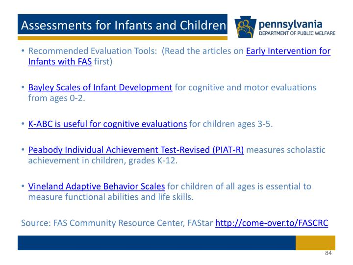 Assessments for Infants and Children