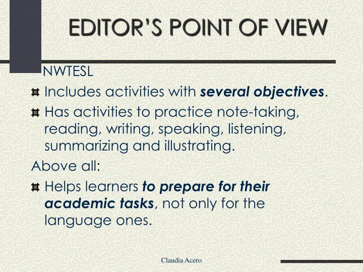 EDITOR'S POINT OF VIEW