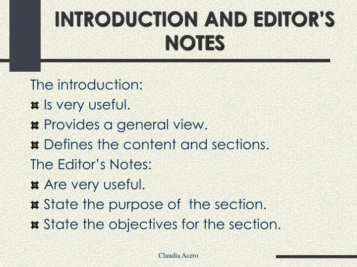 INTRODUCTION AND EDITOR'S NOTES