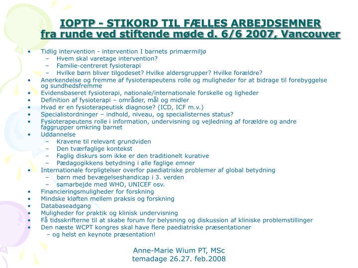IOPTP - STIKORD TIL FÆLLES ARBEJDSEMNER