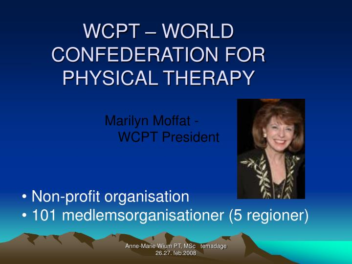 WCPT – WORLD CONFEDERATION FOR PHYSICAL THERAPY