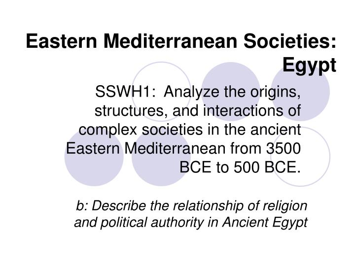eastern mediterranean societies egypt n.