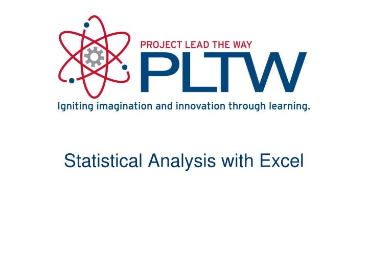 statistical analysis with excel n.