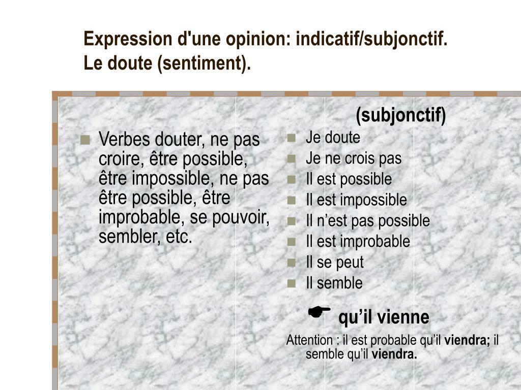 Ppt Expression D Une Opinion Indicatif Subjonctif L Appreciation Subjective Le Jugement Powerpoint Presentation Id 5804691