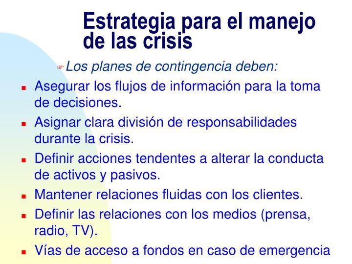 Estrategia para el manejo de las crisis