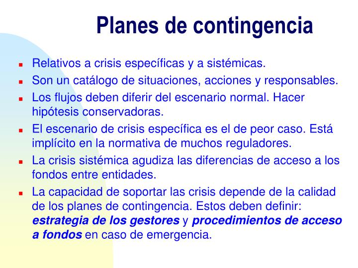 Planes de contingencia