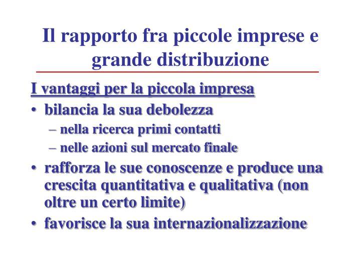 Il rapporto fra piccole imprese e grande distribuzione
