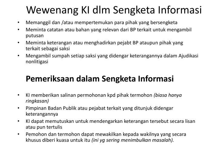 Wewenang KI dlm Sengketa Informasi