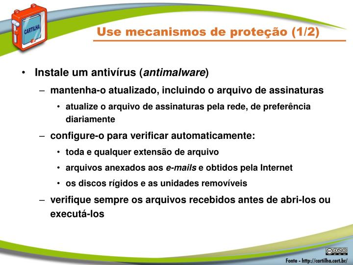 Use mecanismos de proteção (1/2)