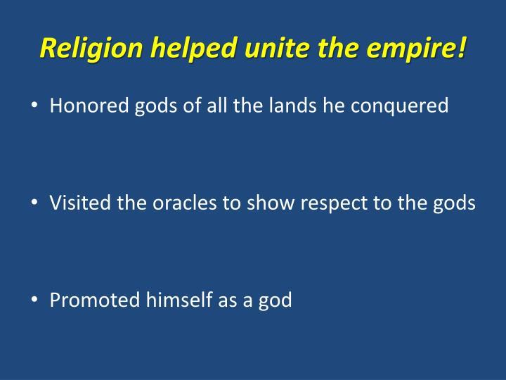 Religion helped