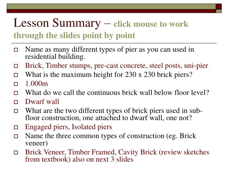 lesson summary click mouse to work through the slides point by point n.