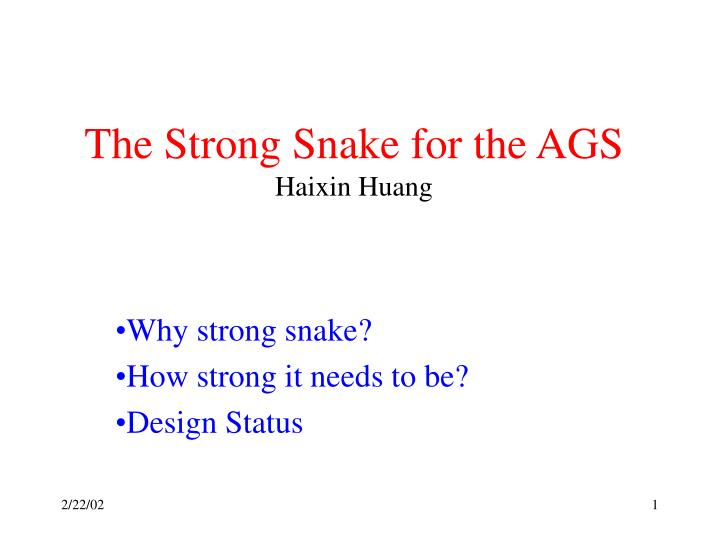 the strong snake for the ags haixin huang n.