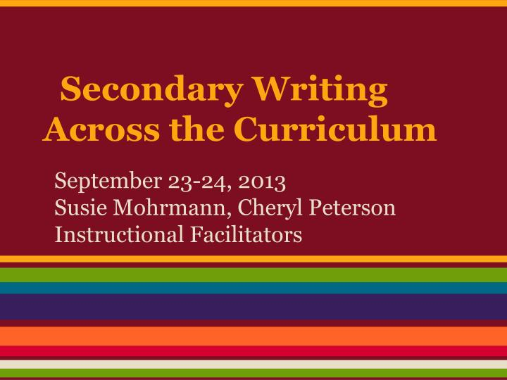secondary writing across the curriculum n.