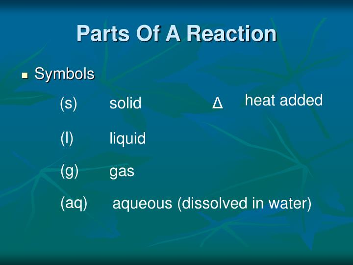 Parts Of A Reaction
