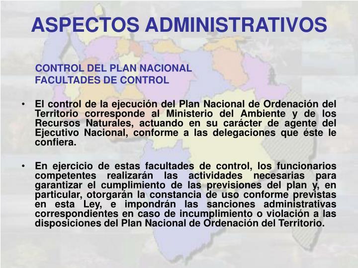 CONTROL DEL PLAN NACIONAL