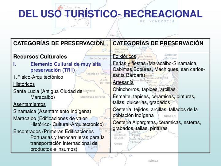DEL USO TURÍSTICO- RECREACIONAL
