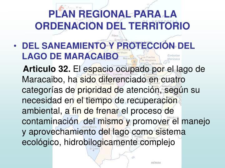 DEL SANEAMIENTO Y PROTECCIÓN DEL LAGO DE MARACAIBO
