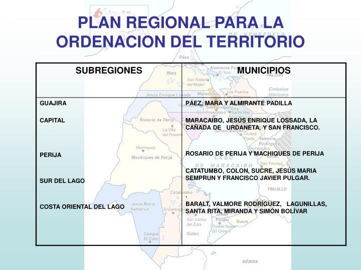 PLAN REGIONAL PARA LA