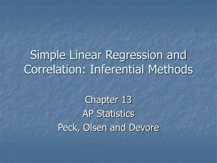 simple linear regression and correlation inferential methods n.