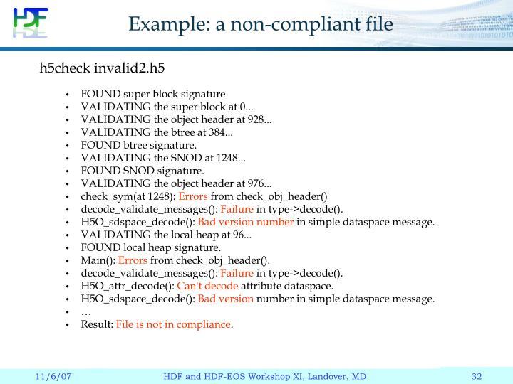 Example: a non-compliant file