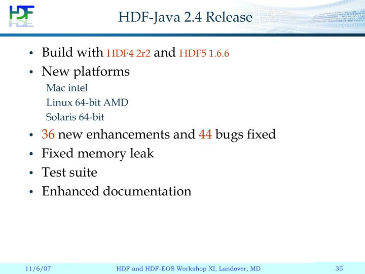 HDF-Java 2.4 Release
