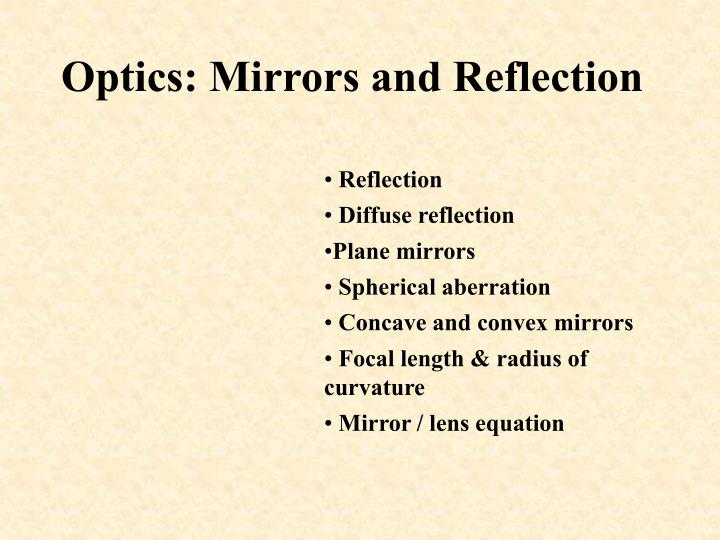 optics mirrors and reflection n.