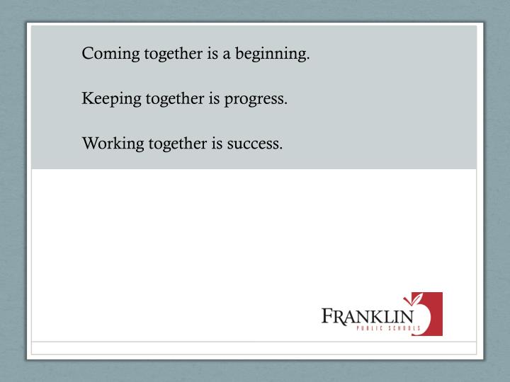 coming together is a beginning keeping together is progress working together is success n.